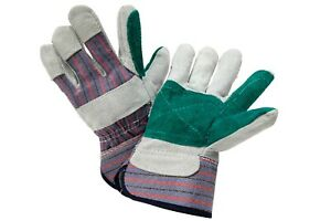 8 Pairs Of Lg Multipurpose Work Gloves Double Palm Protection Cow Split Leather