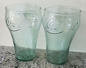 Set of 2 - Coca-Cola 36 oz. Pebbled Green Glasses [VHTF] (EUC)