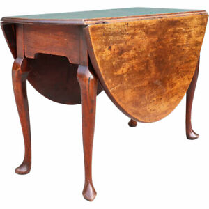 Antique English Queen Anne Style Mahogany Oval Drop Leaf Gateleg Table C 1770