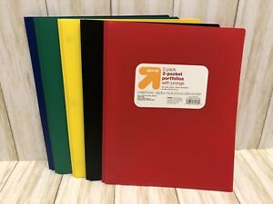 5 Pack Multicolor Plastic Two Pocket Folders With Prongs 2 Pockets And 3 Prongs