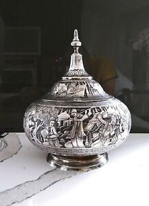 Exceptional Large Antique Middle Eastern Solid Silver Covered Bowl