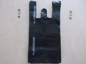 1000 Ct plastic Shopping Bags T Shirt Type Grocery black Small Size Bags