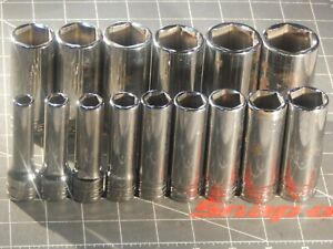 Snap On Tool 15pc Sae 1 2 Drive Deep Socket Set 3 8 1 1 8 1 3 16 1 1 4 6pt Dr