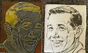 Johnny Carson Vintage Antique Wood Metal Printing Press Block Stamp Rare