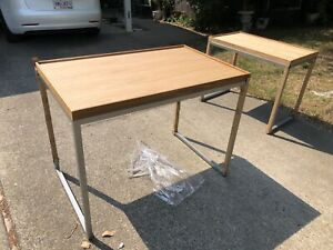 Nesting Tables set Of 2 Light Wood And Metal For Retail Display Store Fixtures
