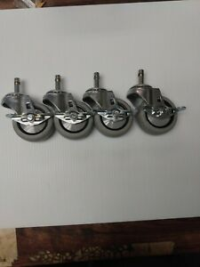 Lot Of 4 Caster Wheels Heavy Duty 3 Inch Office Furniture Industrial