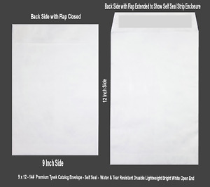 9 X 12 14lb Tyvek Peel Seal Open End Catalog Envelopes Various Quantities