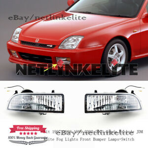 Fit 1997 1998 2001 Honda Prelude Jdm White Fog Lights Front Bumper Lamps switch
