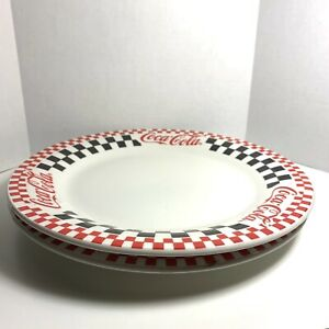 Coca-Cola Gibson's 1997 Checkered Dinner Plate Dinnerware Set of 2