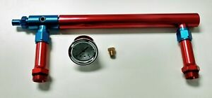 Aluminum Holley 4150 Double Pumper Fuel Line Log Red Blue Anodize W White Gauge