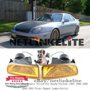 Fog Lights Yellow For Honda Prelude 1997 98 1999 2001 Front Bumper Lamps switch