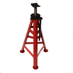 Steel Jack Stand 10t High type Adjustable Handle Three leg Base Red Durable New