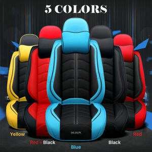 Deluxe Pu Leather Car Seat Cover 5 seat Front rear Full Set Protector Cushions
