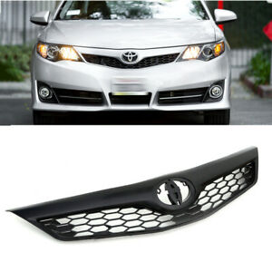 For 2012 2013 2014 Toyota Camry Se Style Front Bumper Upper Hood Grille Black