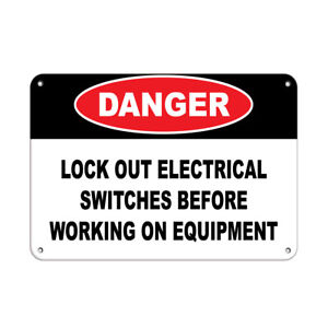 Horizontal Metal Sign Multiple Sizes Danger Lock Electrical Working Equipment