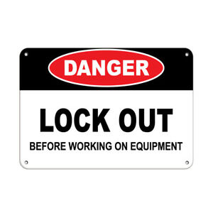 Horizontal Metal Sign Multiple Sizes Danger Lock Out Before Working On Equipment
