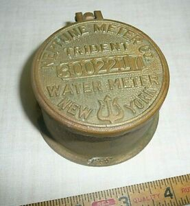Vintage Brass Neptune Water Meter Trident New York Steampunk With Glass Lid B