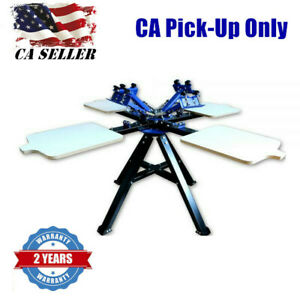 Ca Pick up 4 Color 4 Station Double Wheel Printing Machine Press Screen Printer
