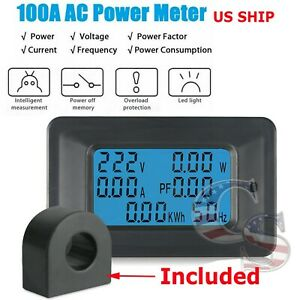 100a Ac Lcd Digital Volt Watt Power Voltage Meter Monitor Kwh Voltmeter Ammeter