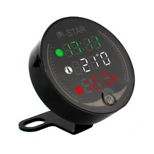 3 In 1 Motorcycle Atv Voltmeter electronic Clock thermometer Digital Led Q2a4