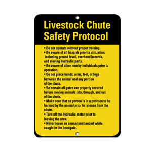 Vertical Metal Sign Multiple Sizes Livestock Chute Safety Protocol Operate