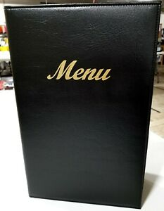 Qty 5 Menu Covers 8 5 X 14 4 Page Black Padded Faux Leather Covers