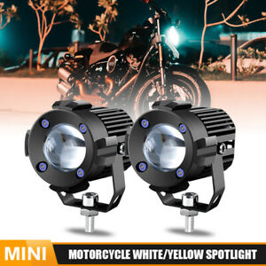 2pc Motorcycle Yellow white Dual Color Led Driving Headlight Fog Lamp Spot Light