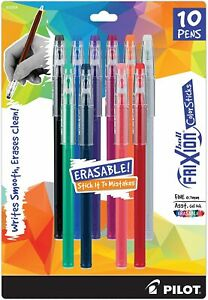 Pilot Frixion Colorsticks Erasable Gel Ink Pens Fine Point 0 7mm Assorted 10 Ct