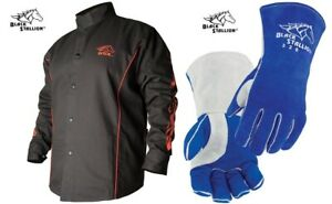 Welding Jacket Black With Red Flames With Stick Welding Glove Bx9c 320 Large