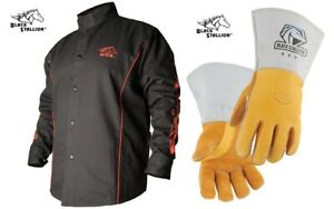 Welding Jacket Black With Red Flames With Stick Welding Glove Bx9c 850 X large