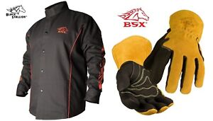 Welding Jacket Black With Red Flames With Mig Welding Glove Bx9c Bm88 X large