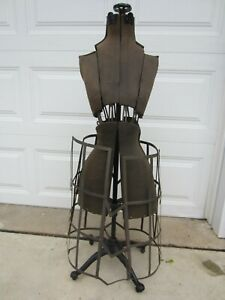 Antique Vintage Adjustable Cage Dress Form Mannequin