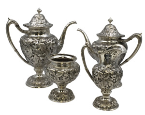 Repousse High Relief Schofield 4 Piece Sterling Silver Tea Coffee Set