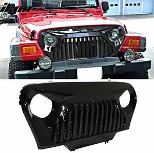 For 1997 2006 Jeep Wrangler Jl Glossy Black Abs Grille Vader Gladiator Style