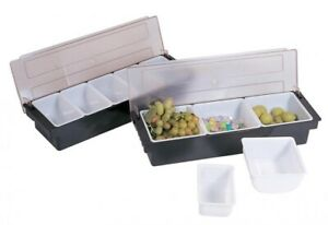 Black Plastic 3 compartment Condiment Holder With Clear Cover