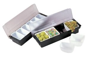 Black Plastic 4 compartment Condiment Holder With Clear Cover