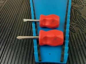 Ah788 Snap On Stubby Screwdriver Set Phillips Flat Tip Red Shd1r Shdp22irr