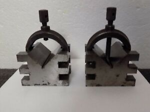 2 Machinist V Blocks With Clamps Unmarked