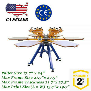 Us 6 Color 6 Station Screen Printing Machine Press T shirt Printer Carousel