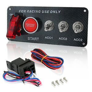 Carbon Racing Car 12v Ignition Switch Panel Led Engine Start Push Button Toggle