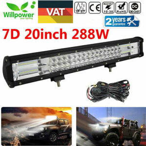 20inch 7d 288w Tri Row Led Work Light Bar For Atv Utv Truck Offroad Car Harness