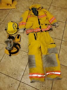 Firefighter Turnout Bunker Set 44 35r Jacket Pants 40r Janesville Lion Nomex