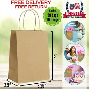 6 25x3 5x8brown Kraft Bag Bulk With Handle ideal For Retail Merchandise Shopping
