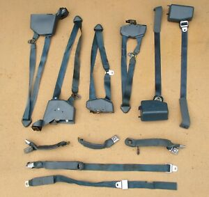 Oem 1989 1991 Chevy Gmc Suburban 1st 2nd 3rd Row Complete Blue Seat Belt Set