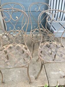 Antique French Victorian Wrought Iron Garden Woven Slat Chairs Set Of 4