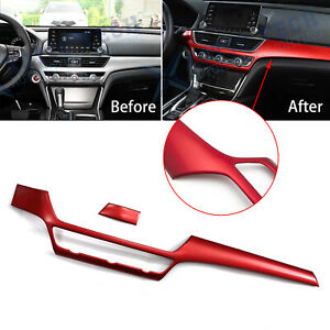 For Honda Accord 10th 2018 2020 2x Red Dashboard Console Decor Panel Cover Trim