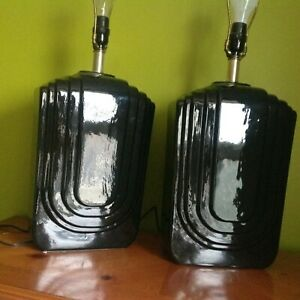 Vintage Modern Art Deco Revival Pair Of Black Ceramic Table Lamps 28