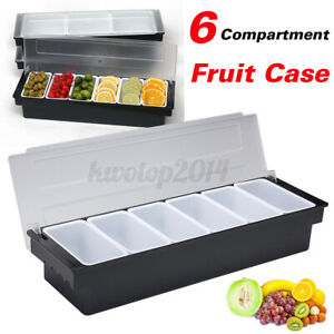 6 Compartment Condiment Holder Bar Fruit Lemo Storage Drinks Cocktail