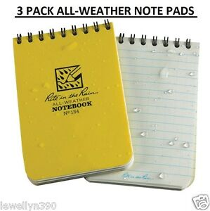 3 Pack New Rite In The Rain Pocket Notebook 3 X 4 5 All weather Writing