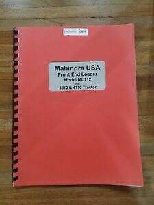 Mahindra Ml112 Tractor Front End Loader Owners Operators Manual 3510 4110
